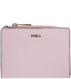 Кошелек розового цвета из сафьяновой кожи Babylon Furla