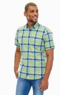Салатовая рубашка из хлопка с короткими рукавами Pierre Cardin