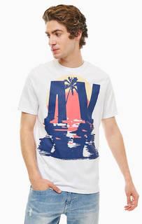 Хлопковая футболка с ярким принтом Armani Exchange