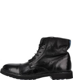 Кожаные ботинки на молнии и шнуровке Moma