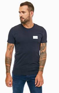 Черная хлопковая футболка с круглым вырезом Calvin Klein Jeans