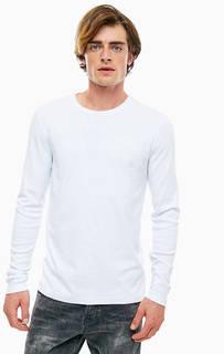 Белая базовая футболка с длинными рукавами Mustang