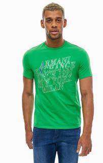 Хлопковая футболка с принтом Armani Exchange