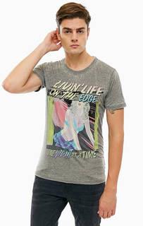 Трикотажная футболка с контрастным принтом Guess