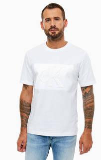 Белая хлопковая футболка с короткими рукавами Calvin Klein Jeans