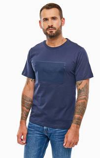 Хлопковая футболка синего цвета Calvin Klein Jeans