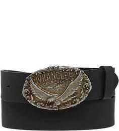 Черный кожаный ремень с овальной пряжкой Wrangler