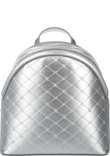 Серебристый кожаный рюкзак Blumarine