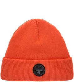 Оранжевая трикотажная шапка с нашивкой Napapijri