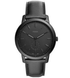 Часы круглой формы с черным циферблатом Fossil