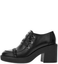 Черные кожаные ботильоны на устойчивом каблуке Geox