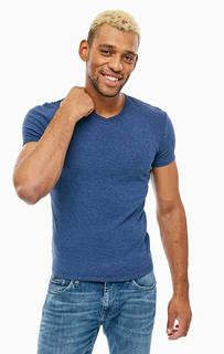 Синяя базовая футболка с треугольным вырезом Mavi