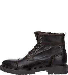 Коричневые ботинки с замшевыми вставками Jack & Jones