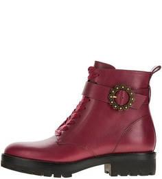 Бордовые демисезонные ботинки из натуральной кожи Michael Michael Kors