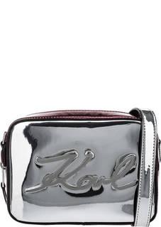 Серебристая лаковая сумка через плечо Karl Lagerfeld