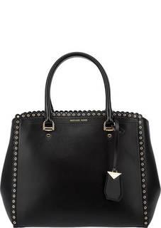 Вместительная кожаная сумка с металлическим декором Benning Michael Michael Kors