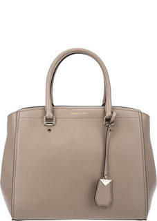 Вместительная кожаная сумка с короткими ручками Benning Michael Michael Kors