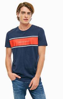Синяя хлопковая футболка с короткими рукавами Jack & Jones