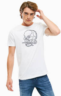 Белая хлопковая футболка с круглым вырезом Jack & Jones
