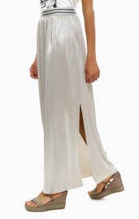Длинная юбка серебристого цвета Gas
