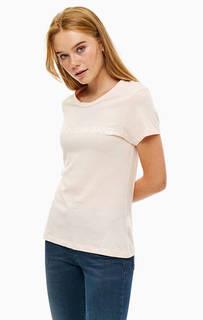 Хлопковая футболка кораллового цвета Calvin Klein Jeans