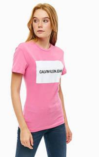 Хлопковая футболка с короткими рукавами Calvin Klein Jeans