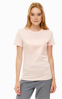 Хлопковая футболка кораллового цвета с принтом Calvin Klein Jeans