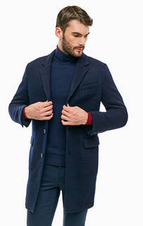 Синее шерстяное пальто на пуговицах Drykorn