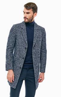 Синее пальто на пуговицах с высоким содержанием шерсти Drykorn