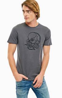 Серая хлопковая футболка с круглым вырезом Jack & Jones