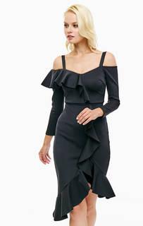Черное платье с открытыми плечами Marciano Guess