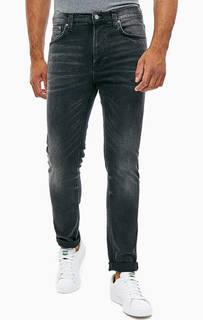 Серые зауженные джинсы с заломами Lean Dean Nudie Jeans