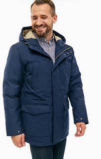 Синяя парка с карманами и капюшоном Gant