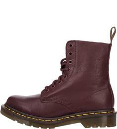 Высокие кожаные ботинки бордового цвета Dr. Martens