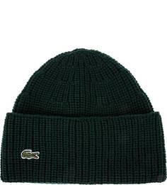 Вязаная зеленая шапка из шерсти Lacoste