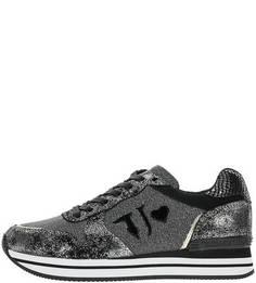 Кроссовки из замши и текстиля на танкетке Trussardi Jeans