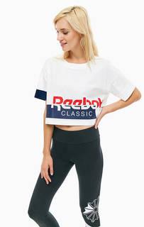 Укороченная хлопковая футболка с принтом Reebok Classic
