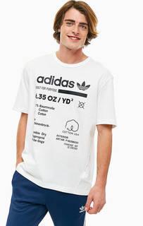 Белая хлопковая футболка с принтом Adidas Originals