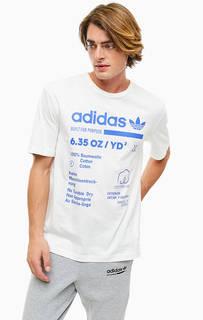 Белая хлопковая футболка с короткими рукавами Adidas Originals