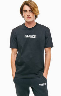 Черная хлопковая футболка с круглым вырезом Adidas Originals