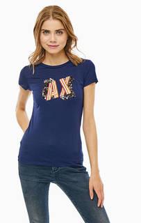 Синяя хлопковая футболка с отделкой пайетками Armani Exchange
