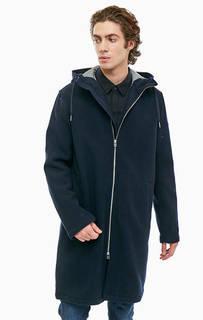 Синее демисезонное пальто с капюшоном Armani Exchange