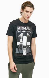Черная хлопковая футболка с принтом Armani Exchange