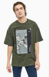 Хлопковая футболка с круглым вырезом Armani Exchange