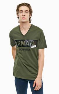 Хлопковая футболка с треугольным вырезом Armani Exchange