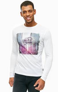 Белая футболка из хлопка с принтом Jack & Jones