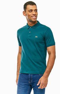 Бирюзовая хлопковая футболка поло Lacoste