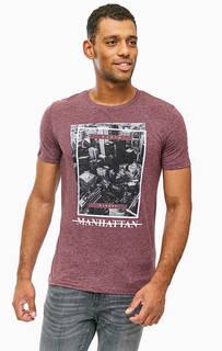 Фиолетовая трикотажная футболка с принтом Jack & Jones