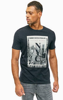 Хлопковая футболка с контрастным принтом Jack & Jones