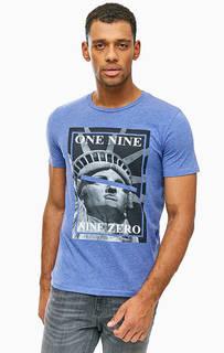 Синяя трикотажная футболка с принтом Jack & Jones